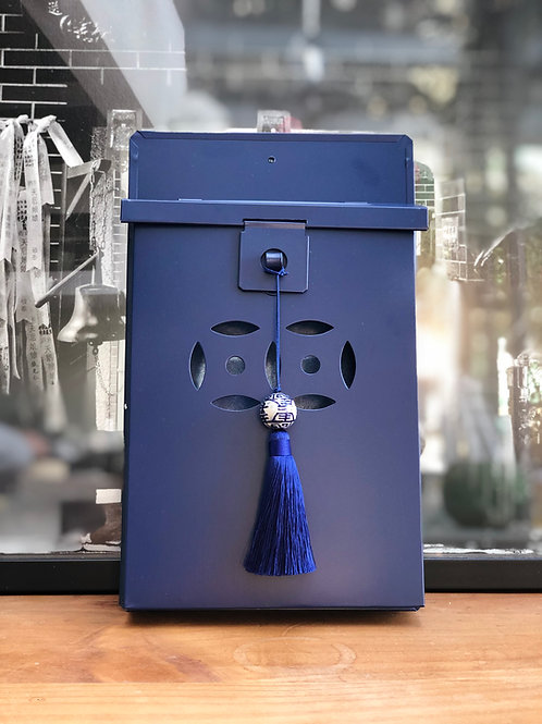China Blue letterbox with tassel and bead