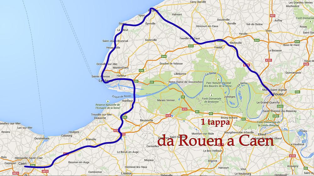 Percorso da Rouen a Caen