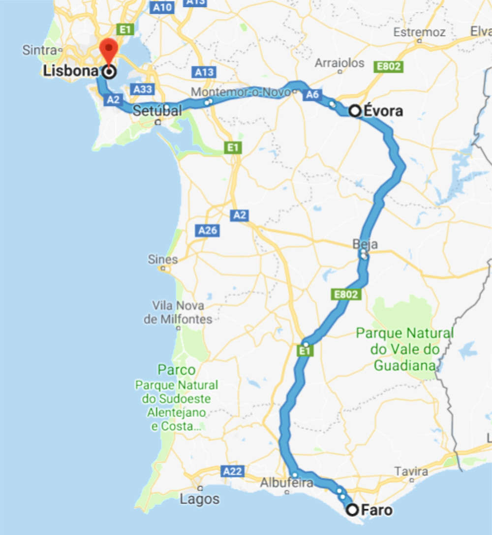 Tragitto Faro - Evora - Lisbona Portogallo
