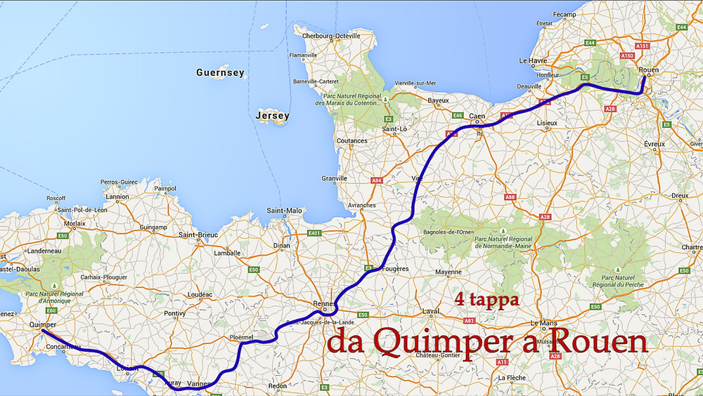 Percorso da Quimper a Rouen