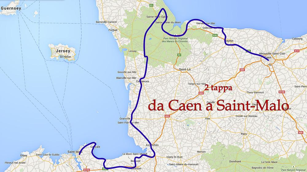 Percorso da Caen a Saint-Malo