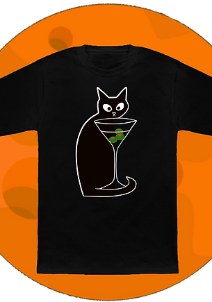 Black Cat Loves Martinis T-Shirt