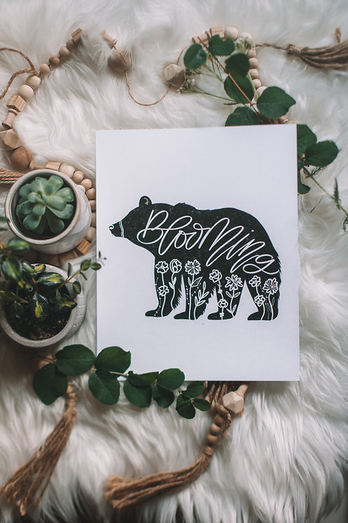 """blooming bear"" b+w 8x10 art print"