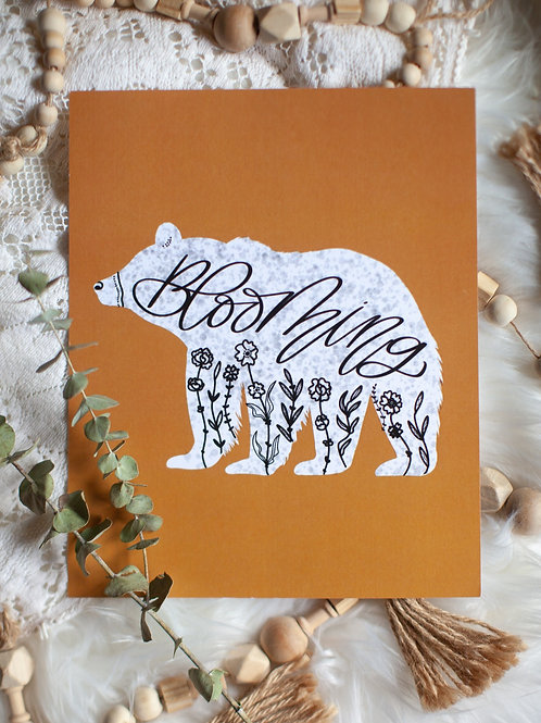 """blooming bear"" mustard 8x10 digital art print"