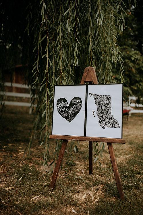 "BC FLORAL + OKGN MAP HEART 2 pack 12""x18"" digital art prints"