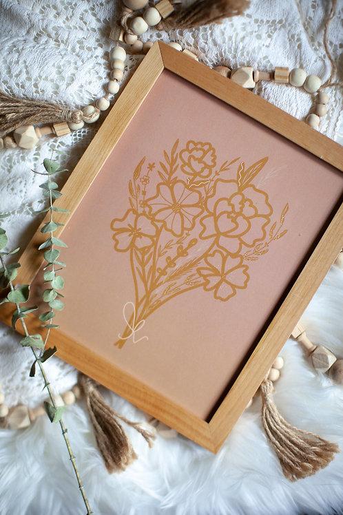 """wildflower sprig"" rose+mustard 8x10 art print"