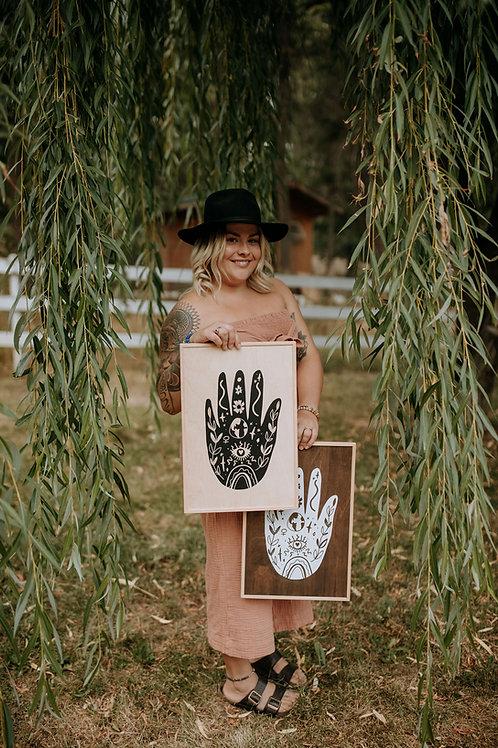 """feminine energy"" ~12""x18 handcrafted birch wood home art"