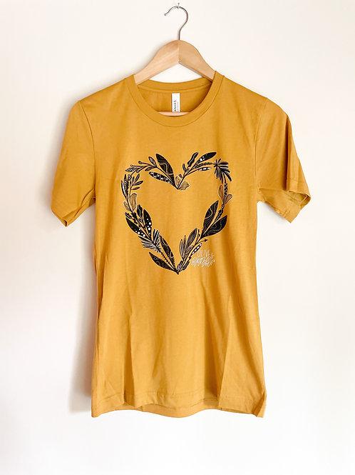 "PRESALE ""botanical heart"" unisex tee in mustard"