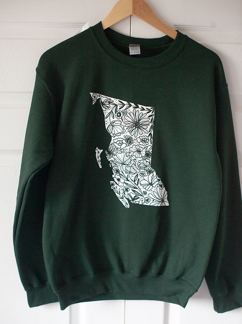 """""""BC FLORAL"""" unisex cotton blend crewneck in FOREST GREEN"""