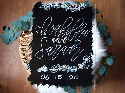 16x24  ACRYLIC CUSTOM hand painted calligraphy wedding/event sign