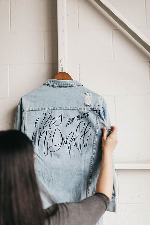 Jean bridal jacket with custom calligraphy details