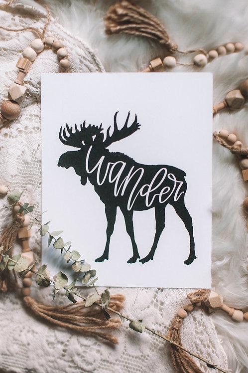 """wandering moose"" 8x10 art print"