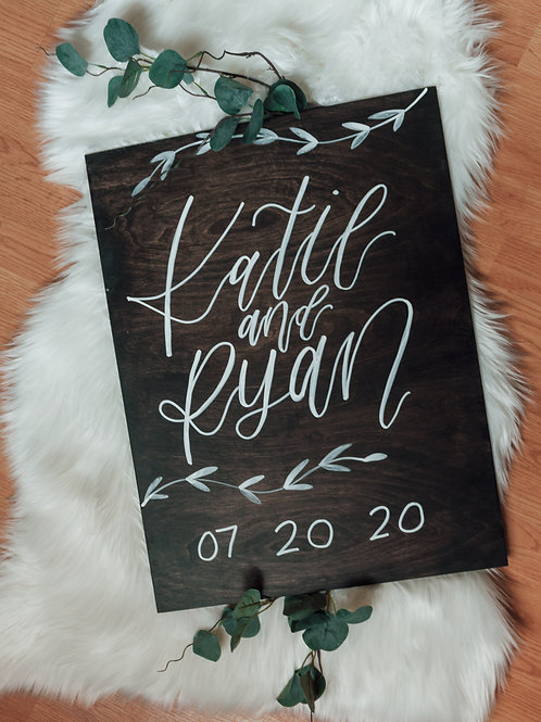 16x24  BIRCH PLANK CUSTOM hand painted calligraphy wedding/event sign