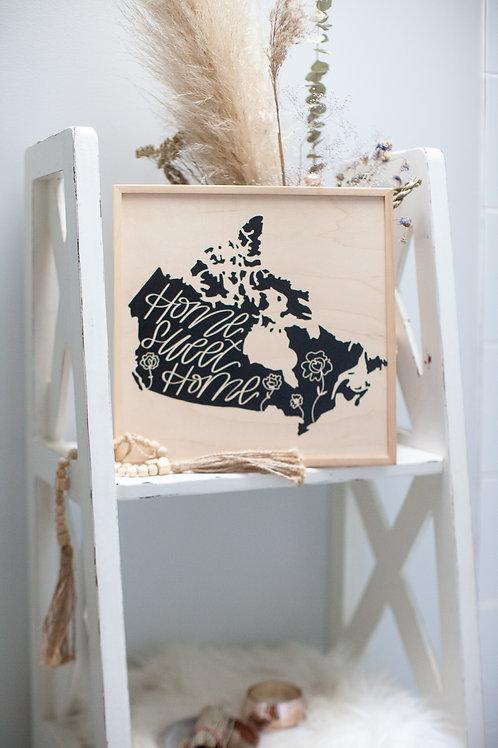"""home sweet home 🇨🇦"" ~10""x12"" handcrafted birch wood home art"