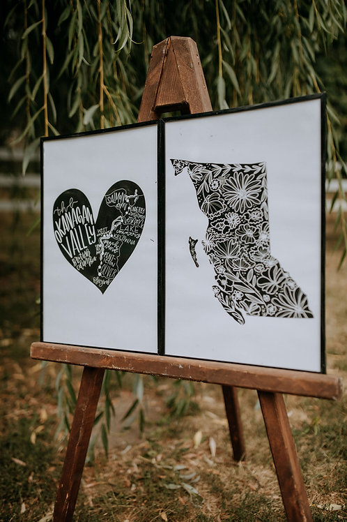 """okgn map heart "" 12x18 cardstock art print"