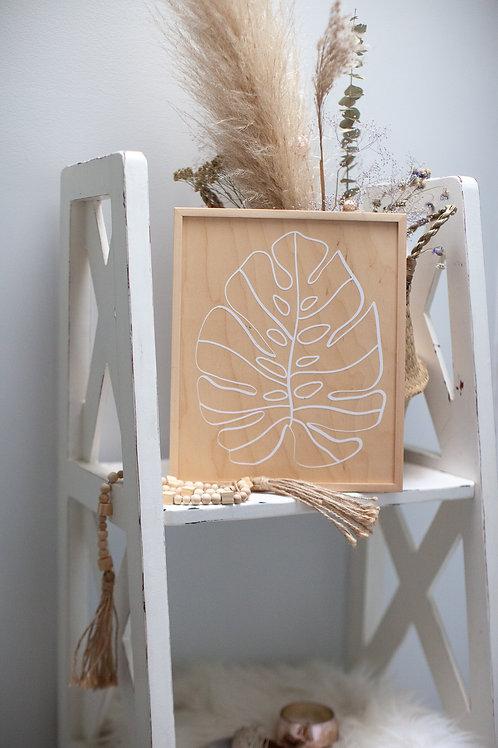 """monstera"" ~10""x12"" handcrafted birch wood home art"