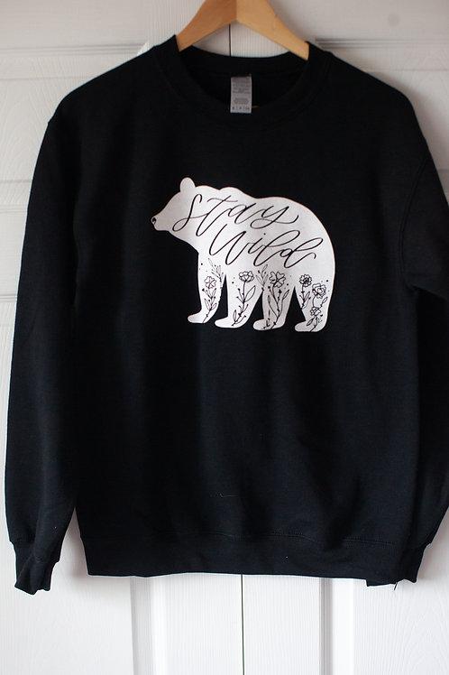 """STAY WILD BEAR"" unisex cotton blend crewneck in BLACK"