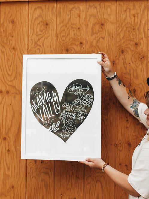 """""""OKGN map heart"""" poster print 18""""x24"""""""