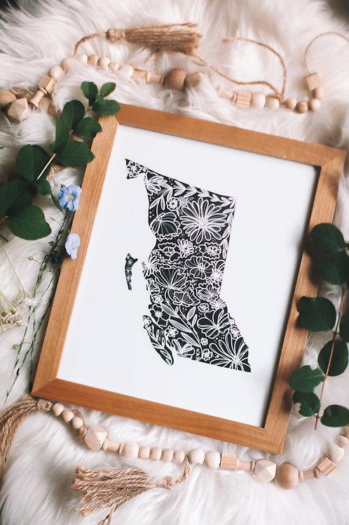 """BC flowers"" 8x10 art print"