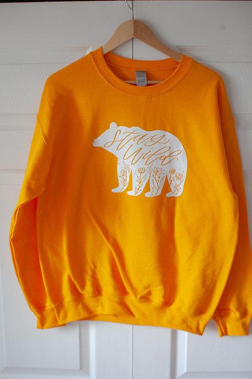 """STAY WILD BEAR"" unisex cotton blend crewneck in GOLD"