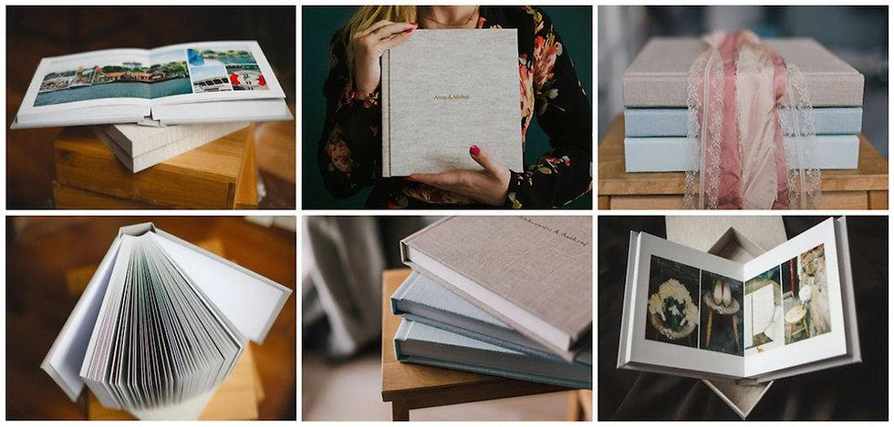 Seria zdjęć przedstawiających albumy ślubne