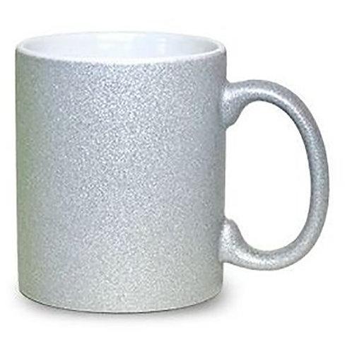 Caneca Cerâmica Prata Glitter 325ml Resinada