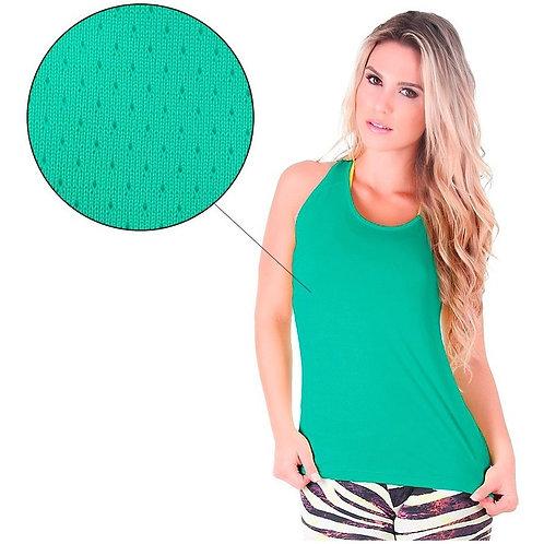 Camiseta Regata Feminina Dry Fit Nadador Furadinha
