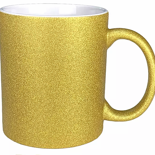 Caneca Cerâmica Ouro Glitter 325ml Resinada