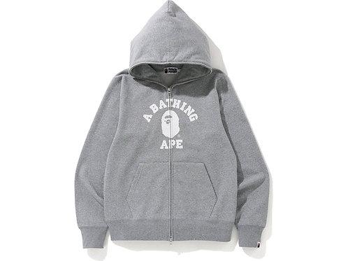 BAPE College Full Zip Hoodie Grey