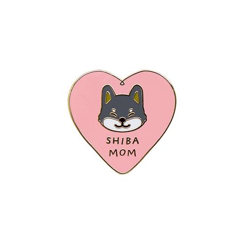 Shiba Mom Enamel Pin - Black