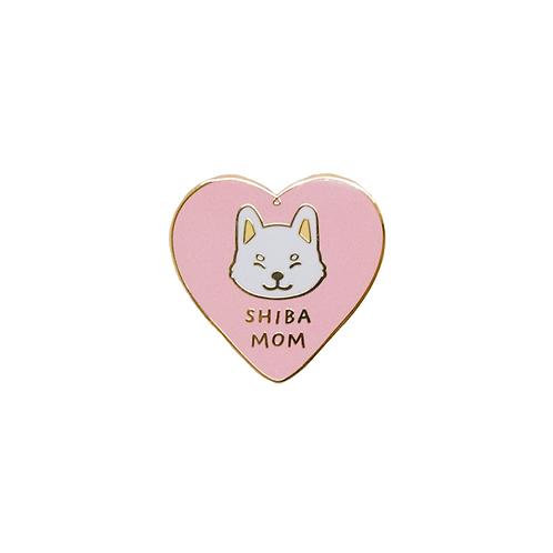 Shiba Mom Enamel Pin - White