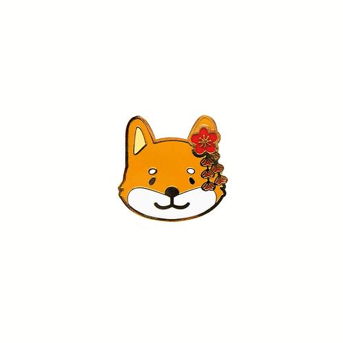 Tsuki the Shiba Inu Enamel Pin - Red