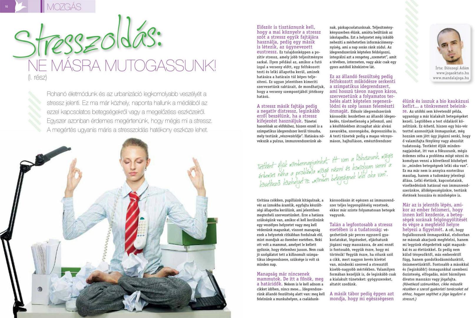Diószegi Ádám cikke: Stresszoldás jógával