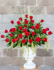 Traditional All Red Rose Urn