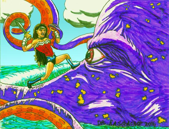 Wonder Woman Vs. Giant Octopus