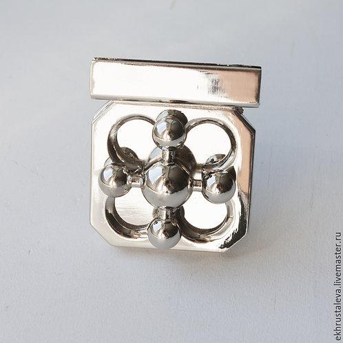 Поворотный замок для сумки, серебро