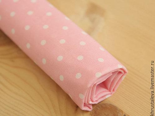 Розовый хлопок в горошек