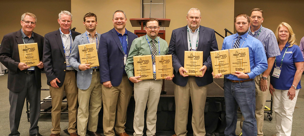 Recipients of the SFPA 2018 Sawmill Safety Award (L-R): Scott Vande Linde, West Fraser, Inc.; Hunter McShan and John Hunter Allgood, McShan Lumber Co.; Eric Gee, SFPA Deputy Director; Jamey Ramer, Craig Forbes and Zach Pepper, Weyerhaeuser; SFPA Chairman Donny White, Ray White Lumber Co.; Tami Kessler, SFPA Executive Director.