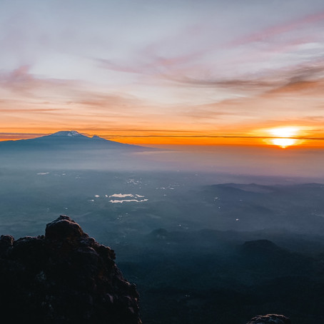 Mt Meru – watch the sunrise over Mt Kilimanjaro