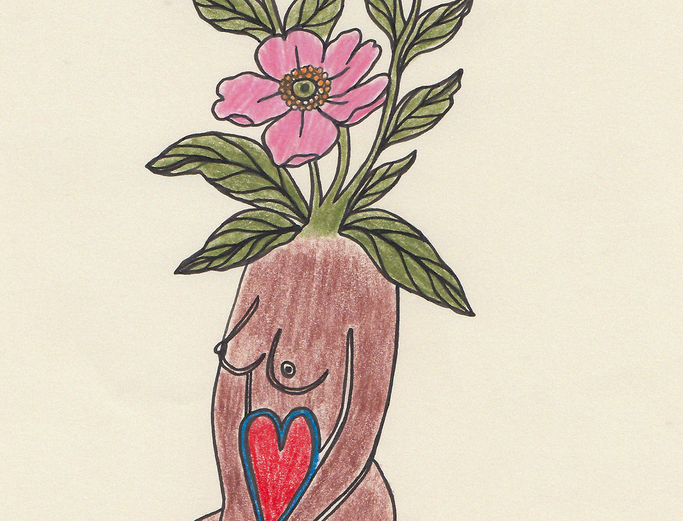 WILD ROSE - pencil & ink on paper