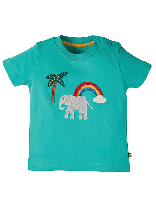 Little Creature Applique Top/Aqua Elephant