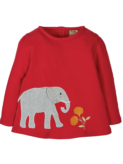 Connie Applique Top/Red Elephant
