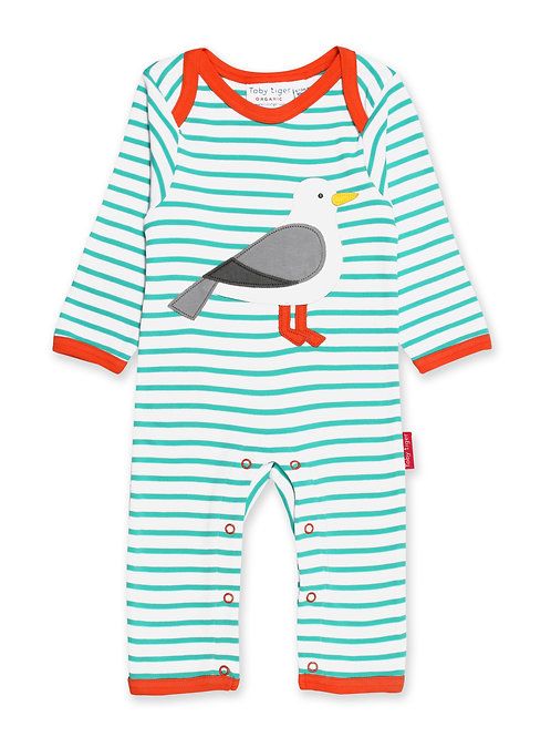 Teal Seagull Applique Sleepsuit