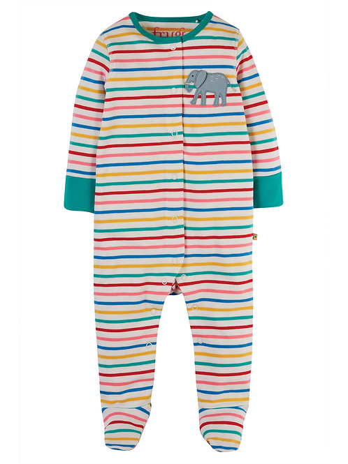Elephant Stripe Applique Babygrow