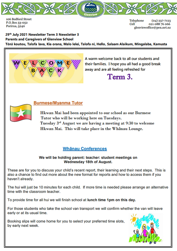 29th July 2021 Newsletter Term 3 Newsletter 3 pg 1.PNG