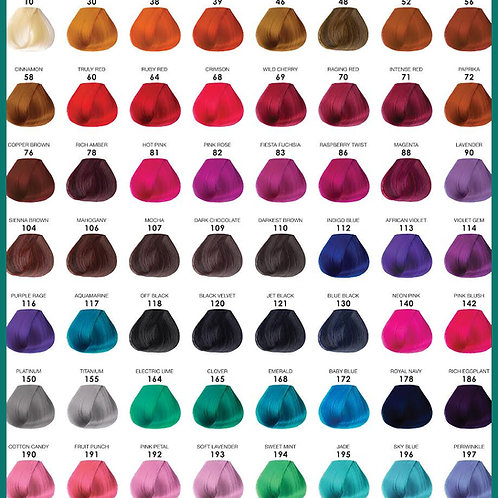 Adore – Semi-Permanent Hair color chart