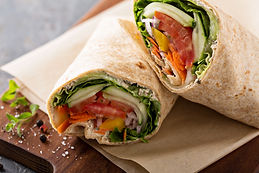 Vegan vegetable wrap with lettuce, cucum
