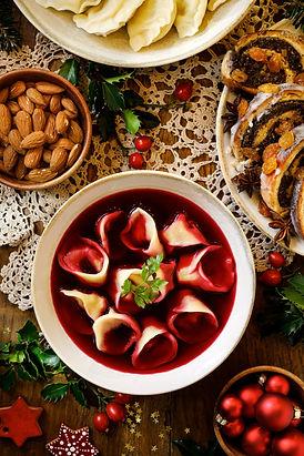 Christmas beetroot borscht in ceramic bo