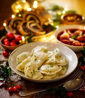 Christmas dumplings with vegetarian stuf