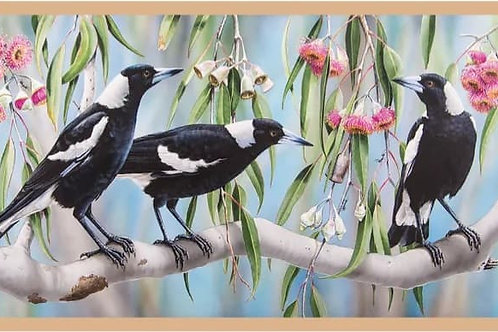 Australian Native Wildlife Panel Magpies